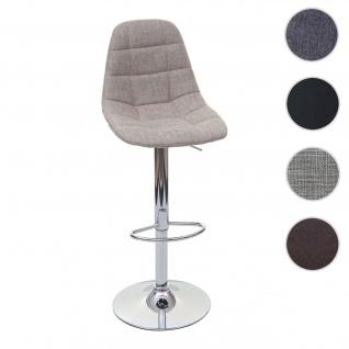 Barhocker HWC-A67, Barstuhl Tresenhocker ~ creme-grau Stoff/Textil, Fuß chrom