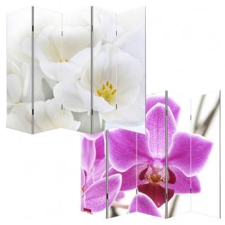Foto-Paravent Paravent Raumteiler Spanische Wand M68, 5 Panels ~ 180x200cm, Orchidee
