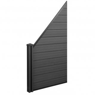 WPC-Sichtschutz Sarthe, Windschutz Zaun, WPC-Pfosten ~ Erweiterungselement schräg links, 0, 98m anthrazit