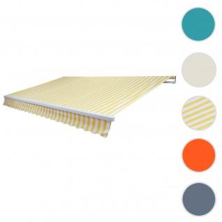 Alu-Markise T791, Gelenkarmmarkise Sonnenschutz 4, 5x3m ~ Polyester Gelb/Weiß