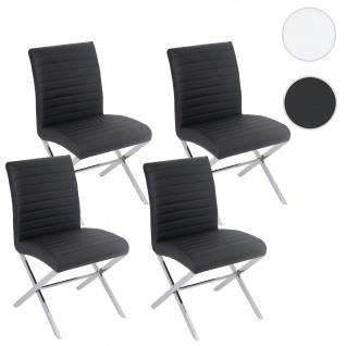4x Esszimmerstuhl Fano, Stuhl Lehnstuhl, Kunstleder chrom schwarz