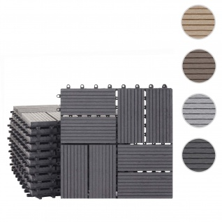 WPC Bodenfliese Rhone, Holzoptik Balkon/Terrasse, 11x je 30x30cm = 1qm ~ Premium, anthrazit Vierecke