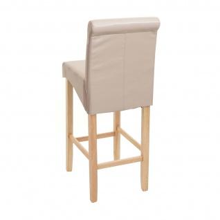 Barhocker HWC-C33, Barstuhl Tresenhocker, Holz ~ creme, helle Beine, Kunstleder - Vorschau 5