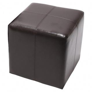 Sitzwürfel Hocker Sitzhocker Onex, Leder + Kunstleder, 36x36x36cm ~ braun