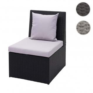 Poly-Rattan Sessel HWC-G16, Lounge-Rattanstuhl Gartenstuhl, Gastronomie ~ schwarz, Kissen hellgrau