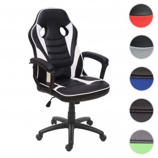 Bürostuhl HWC-F59, Schreibtischstuhl Drehstuhl Racing-Chair Gaming-Chair, Kunstleder ~ schwarz/weiß
