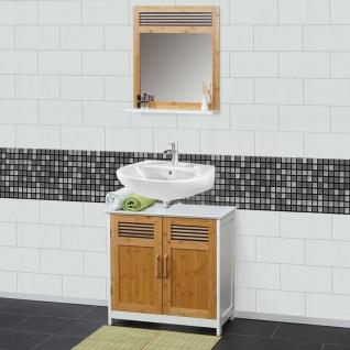 Badezimmerset HWC-A85, Waschbeckenunterschrank Wandspiegel Bambus, weiß