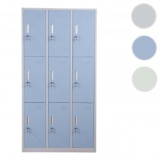 Schließfach Boston T829, Schließfachschrank Wertfachschrank Spind, Metall 9 Fächer ~ blau