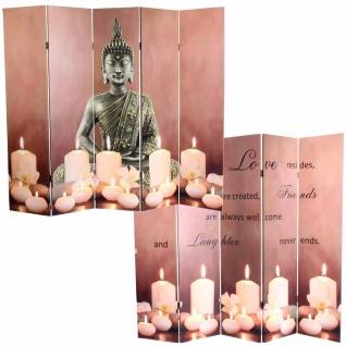LED-Paravent Buddha, Trennwand Raumteiler, Timer netzbetrieben 180x200cm 15 LEDs - Vorschau 1
