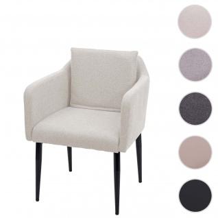 Esszimmerstuhl HWC-H93, Küchenstuhl Lehnstuhl Stuhl ~ Stoff/Textil creme-beige