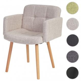 Esszimmerstuhl Orlando II, Stuhl Küchenstuhl, Retro-Design ~ Textil, creme/grau