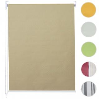 Rollo HWC-D52, Fensterrollo Seitenzugrollo Jalousie, Sonnenschutz Verdunkelung blickdicht 120x160cm ~ beige