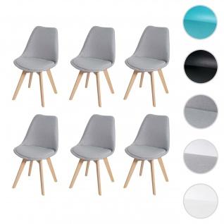 6x Esszimmerstuhl HWC-E53, Stuhl Küchenstuhl, Retro Design Stoff/Textil grau, helle Beine