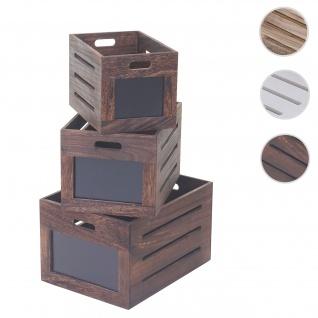 3er Set Holzkiste HWC-E11, Aufbewahrungsbox mit Tafel, Shabby-Look ~ vintage braun