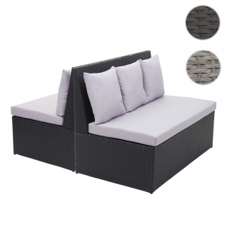 2x Poly-Rattan 2er Sofa HWC-G16, Lounge-Gartenbank Sitzbank Sessel, Gastronomie 120cm ~ schwarz, Kissen hellgrau