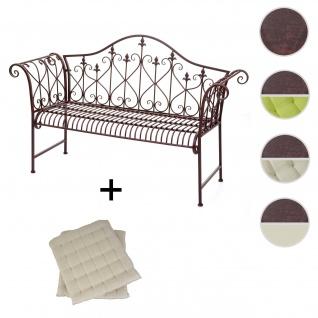 Gartenbank HWC-H78, Parkbank Sitzbank, 2-Sitzer Metall mit Verzierungen Rost-Optik braun 150cm ~ 2x Sitzkissen creme