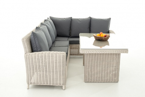 Sofa-Garnitur CP056, Lounge-Set Gartengarnitur, Poly-Rattan ~ Kissen eisengrau, perlweiß