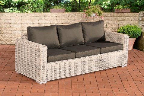 3er Sofa CP053, 3-Sitzer, Poly-Rattan ~ Kissen anthrazit, perlweiß