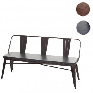 3er Sitzbank HWC-H10, Garderobenbank Esszimmerbank, Kunstleder Chesterfield Industrial Gastronomie ~ schwarz-grau
