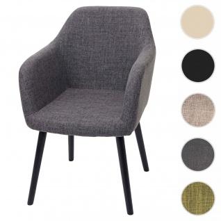 Esszimmerstuhl Malmö T381, Stuhl Küchenstuhl, Retro 50er Jahre Design ~ Textil, grau, dunkle Beine