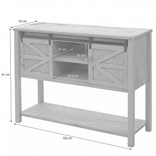 Kommode HWC-D57, Schiebetürenschrank Sideboard Schrank, Shabby-Look Vintage 81x102x34cm ~ weiß - Vorschau 5