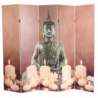 LED-Paravent Buddha, Trennwand Raumteiler, Timer netzbetrieben 180x200cm 15 LEDs - Vorschau 2