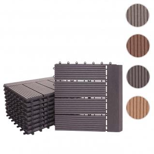 WPC Bodenfliese Rhone + Abschluss, Holzoptik Balkon/Terrasse, 11x je 30x30cm = 1qm Premium ~ anthrazit linear waagrecht