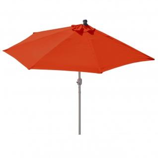 Sonnenschirm halbrund Parla, Halbschirm Balkonschirm, UV 50+ Polyester/Alu 3kg ~ 300cm terrakotta ohne Ständer