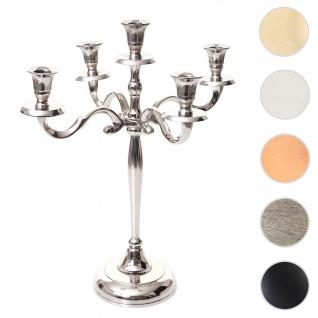 Kerzenleuchter HWC-D81, Kerzenständer Leuchter Kerzenhalter, 5-armig aus Aluminium 41cm massiv 1kg ~ Farbe: Silber