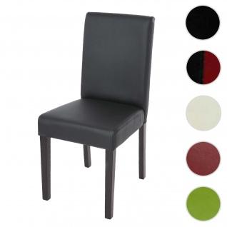 Esszimmerstuhl Littau, Küchenstuhl Stuhl, Kunstleder ~ schwarz matt, dunkle Beine
