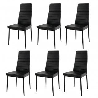 6x Esszimmerstuhl Lixa, Stuhl Küchenstuhl, Kunstleder ~ schwarz