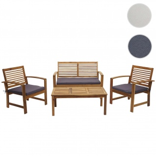 Gartengarnitur HWC-E99, Sitzgruppe Balkon-Set Lounge-Set, Akazienholz massiv ~ Kissen dunkelgrau
