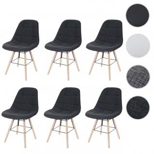 6x Esszimmerstuhl HWC-A60 II, Stuhl Küchenstuhl, Retro 50er Jahre Design Textil dunkelgrau