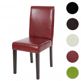 Esszimmerstuhl Littau, Küchenstuhl Stuhl, Kunstleder ~ rot-braun, dunkle Beine