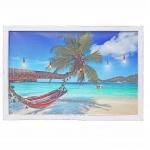 LED-Bild HWC-D37, Leinwandbild Leuchtbild Wandbild, Meer mit Rahmen Shabby-Look 40x60cm
