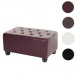 Luxus Ottomane Sitzhocker Chesterfield 41x75x46cm Kunstleder runde Füße, rot-braun