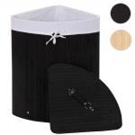 Eckwäschekorb HWC-C21, Laundry Wäschebox Wäschesammler Wäschebehälter, Bambus 61x48x35cm 50l