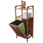 Regal mit Wäschekorb HWC-B94, Wäschebox Wäschesammler Wäschebehälter Standregal Aufbewahrung, Bambus 95x40x30cm 28l