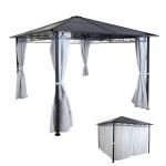 Hardtop Pergola HWC-C77, Garten Pavillon, Kunststoff-Dach Seitenwand Alu hellgrau 3x3m