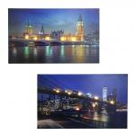 2x LED-Bild, Leinwandbild Leuchtbild Wandbild, Timer Bridges 40x60cm