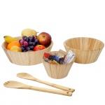 3er Set Schüssel + Salatbesteck HWC-B98, Servierschüssel Dekoschale stapelbar Servierbesteck Küchenzubehör, Bambus
