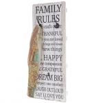 Wandgarderobe Family Rules, Shabby-Look Vintage 76x31cm