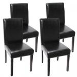 4x Esszimmerstuhl Littau, Leder schwarz, dunkle Beine
