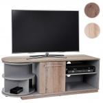 TV Lowboard Arau, TV-Rack Fernsehtisch mit Drehelement, 120x45x40cm Eiche-Optik 3D-Struktur