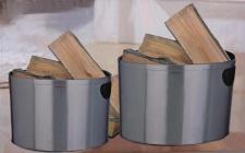 Schale für Kaminholz Kaminholzschale, 2 Stück Edelstahl, silber