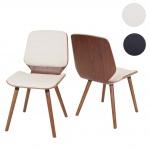 2x Esszimmerstuhl HWC-B16, Holz Bugholz Retro-Design Walnussoptik Kunstleder creme