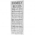 Holzschild Family Rules, Dekoschild Garderobe, Shabby-Look