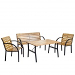 2-1-1 Garten-Garnitur Granada II, Sitzgruppe Tisch Stuhl Bank, Eucalyptus-Hartholz