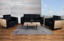 3-1-1 Sofagarnitur Nancy, Couch Kunstleder, schwarz