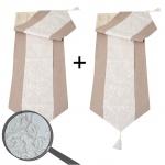2x Tischläufer Glitzer, Tischdecke Tischdeko Mitteldecke, beige Glanz-Effekt 180x33cm